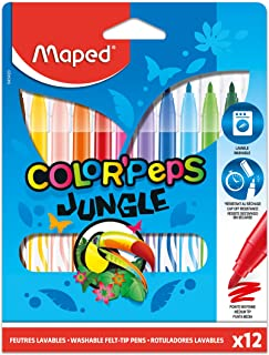 Maped Color'Peps Jungle Fine Tip Washable Markers, Assorted Colors, Pack Of 12 (845420)