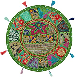 Stylo Culture Round Floor Cushion Cover Footstool Cotton Ethnic Patchwork Embroidered Decor 18