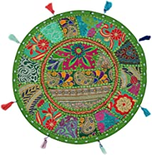 Stylo Culture Indian Pillow Seats for Floor Vintage Bohemian Patchwork Boho Cushion Cover Parrot Green Round Throw Pillow ...