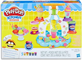 Play-Doh - Kitchen Creations - Sweet Shoppe Swirl & Scoop Ice Cream Playset inc 5 Tubs of Dough - Creative Kids Toys - Ages 3+