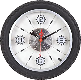 Maple's Aluminum Bicycle Wheel with Rubber Tire Wall Clock, Black
