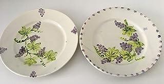 MaJe ceramista set 2 platos esmaltados porcelana pintada a mano frutas uvas.