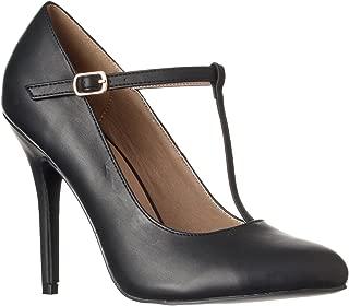 Riverberry Women's Sadie Round Toe T-Strap High Heel Pumps