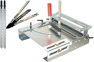 Mesa de sierra de calar Biber 012LK-2 + hojas de sierra de Metabo Bosch Makita + 2 hojas de sierra de vaivén largo en T para sierras de calar, mesa de sierra para cortar laminados