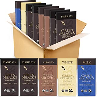 Green & Black's Organic Chocolate Variety Pack - 85% Dark Chocolate, 70% Dark Chocolate, Milk Chocolate, Mi...