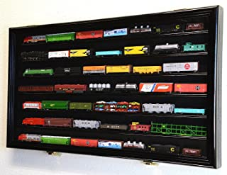 N Scale Train Model Trains Display Case Cabinet Wall Rack w/ 98% UV Lockable -Black