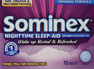 Sominex Night-Time Sleep Aid Tablets, Original Formula, 72-Count Boxes (Pack of 3)