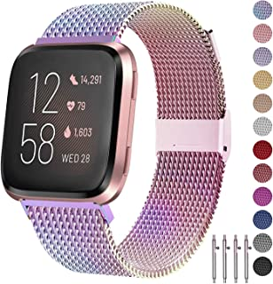 JuQBanke Bands Compatible for Fitbit Versa/Versa Lite Edition/Versa 2 Smart Watch for Women and Men,Metal Stainless Steel Replacement Wristbands for Fitbit Versa Smart Watch
