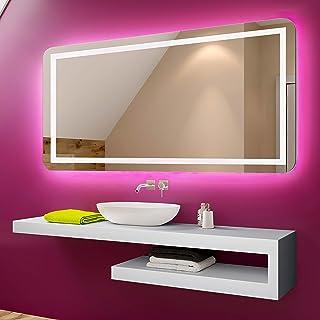 FORAM Espejo de Baño con Iluminación LED - Luz Espejo de Pared con Accesorios - Diferentes tamaños para Baño Dormitorio Maquillaje - L63