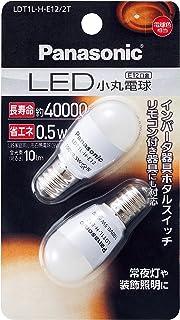 パナソニック LED電球 口金直径12mm 電球色相当(0.5W) 小丸電球タイプ 2個入 LDT1LHE122T