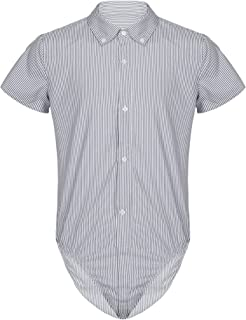 easyforever Mens Casual Striped Shirt Short Sleeve Office Work Bodysuit One-Piece Overall Tops
