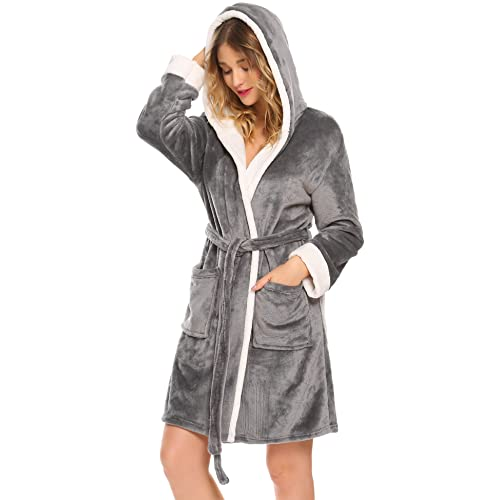 8c08e8f563 Hotouch Womens Hooded Bathrobe Fleece Robe Super Soft Plush Robe Velour  Bathrobe