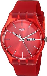 ساعة سواتش للرجال SUOR701 كوارتز حمراء بخاصية عرض التاريخ واليوم البلاستيكية