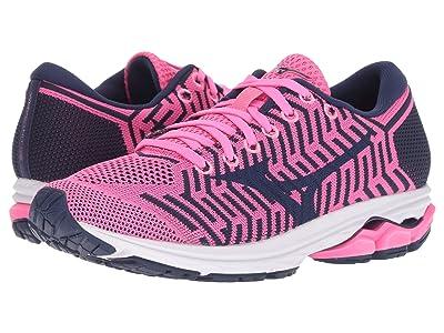 Mizuno Wave Rider 22 Knit (Pink Glo/Sodalite Blue) Girls Shoes