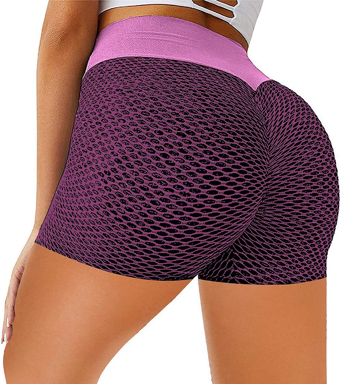 POLLYANNA KEONG Women Gym Shorts Butt Lifting Ruched Yoga Booty Running Short Tummy Control Leggings High Waisted Pants