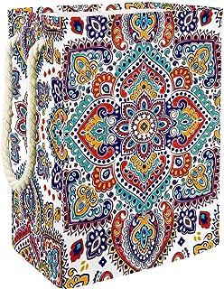 EZIOLY Panier à linge pliable Henné Mandala Paisley Panier à linge pliable avec poignées Supports détachables Bonne tenue ...