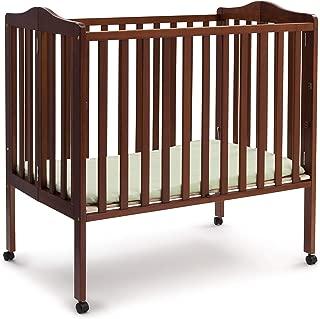 Delta Children Folding Portable Mini Baby Crib with Mattress, Dark Cherry