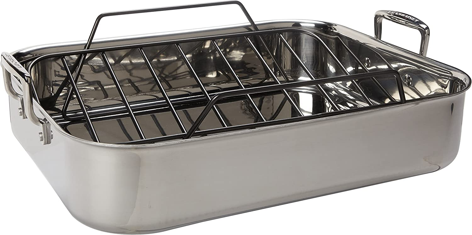 Le Limited price sale Creuset Stainless Steel Limited time sale Roasting Pan Nonstick Rack 17 x With