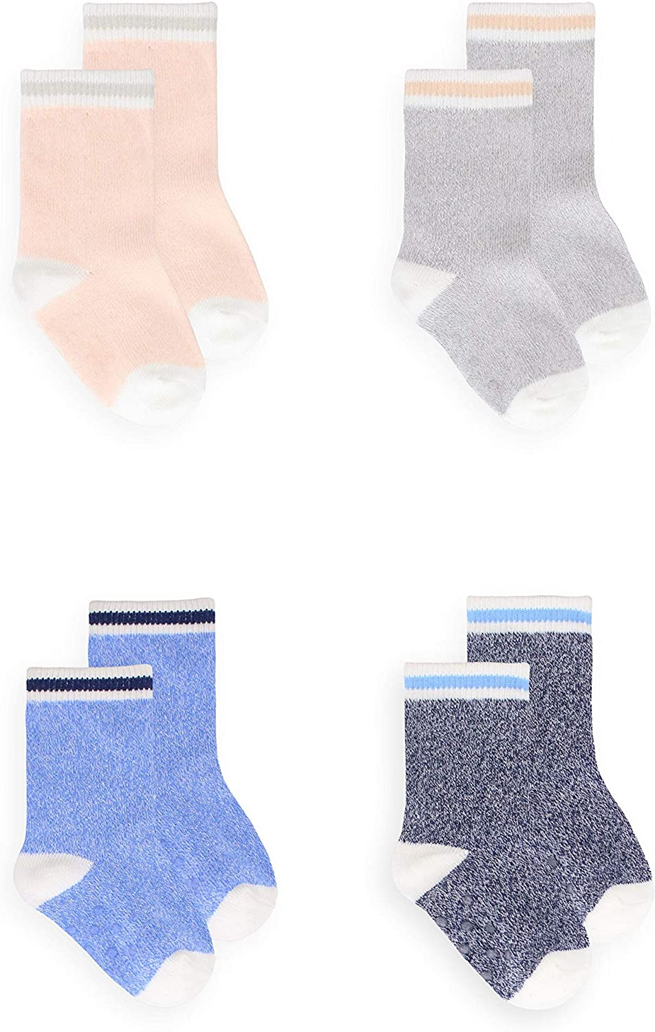 Soft Toddler Thermal Boot Sock Assorted 2 pack Cute Heather Small Children's Cotton Cuff Crew Grip Socks