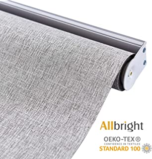 ALLBRIGHT 100% Blackout Roller Shades for Windows UV Protection Roller Blind Striped Jacquard (Coffee, 47''W x 72''H)
