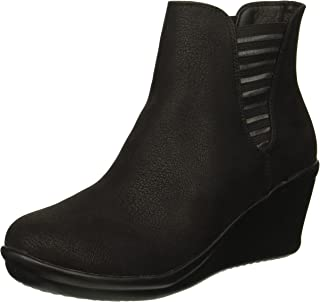 Skechers Women's Rumblers-Beam Me Up-Wedge Heeled Dressy Casual Striped Gore Chelsea Boot