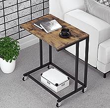 طاولة جانبية للأريكة من Yechen، طاولة على شكل C على شكل طاولة على شكل حرف C للكمبيوتر المحمول، طاولة متحركة مع عجلات دوارة...