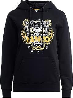 Kenzo Woman's Felpa Tigre Nera Con Cappuccio Con Tigre Ricamata