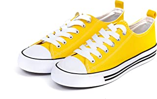Women's Sneakers Casual Canvas Shoes, Low Top Lace up Cap Toe Flats (Order One Size Up) Yellow Size: 8
