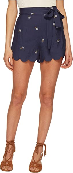 J.O.A. - Embroidered Shorts with Scallop Hem