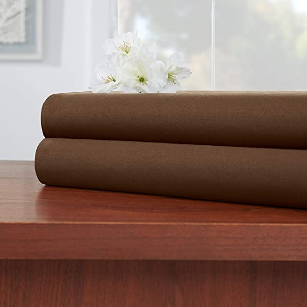 Empyrean Bedding Premium Flat Sheets 2 Pack 110 GSM Top Bed Sheets Double Brushed Microfiber Thick And Comfortable Flat Sheets Set Luxurious Soft Hotel Hypoallergenic Twin Chocolate Brown