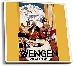 Wengen, Switzerland - Interior View of Wengen Downhill Club- Vintage Travel Poster (Set of 4 Ceramic Coasters - Cork-Backed, Absorbent)