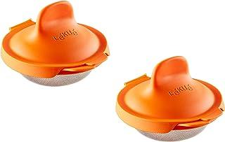 Lékué Pack Escalfador de Huevos, Acero Inoxidable, Naranja, 9,3 x 11 x 7,5 cm, 2 Unidades