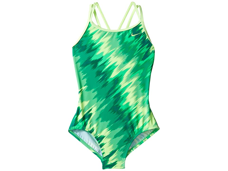 Nike Kids Splash Spiderback One-Piece Swimsuit (Little Kids/Big Kids) (Electro Green) Girl