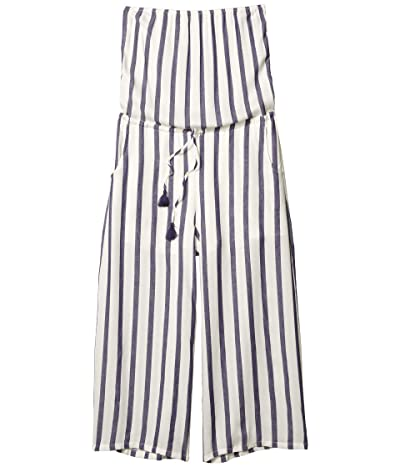 American Rose Esme Strapless Striped Jumpsuit (White/Navy) Women