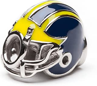 University of Michigan Charm | UM Wolverines Football Helmet Bead Charm | Officially Licensed University of Michigan Jewelry | Michigan Bead | Michigan Charms | UMich Gifts | Stainless Steel