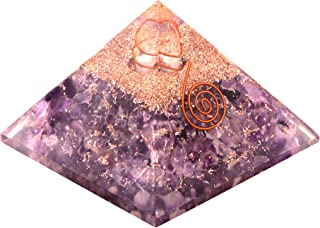Healing Crystals Chakra Stones Emf Protection Orgone Pyramid, Reiki Energy Meditation Negative Ion Generator Pyramid for Positive Energy with Quartz and Copper (Amethyst, 65MM-75MM)