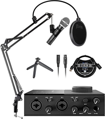 new arrival Native Instruments KOMPLETE AUDIO 2 USB Audio Interface for Windows and Mac Bundle sale with Audio-Technica ATR2100X-USB Dynamic Microphone, Blucoil Boom Arm Plus Pop online Filter, and 3' USB Extension Cable online