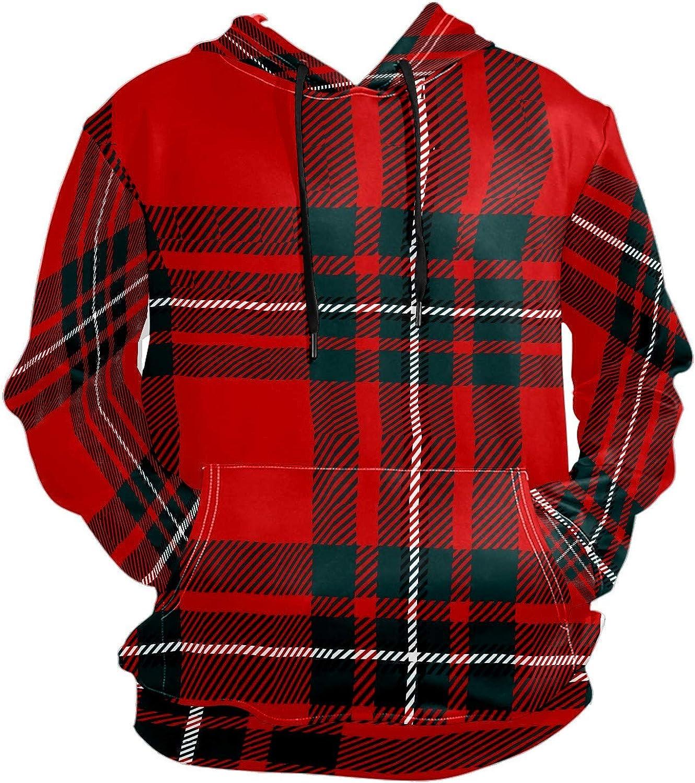 Men's Sport Hoodie Vintage Scottish Red Black Plaid Big and Tall Hoodies for Men Women Oversized Hooded Sweatshirt Hip Hop Pullover Hoodie Midweight Hood for Boys Girls