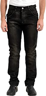 Gianfranco Ferre GF Men's Off Black Distressed Wash Jeans US 32 IT 46