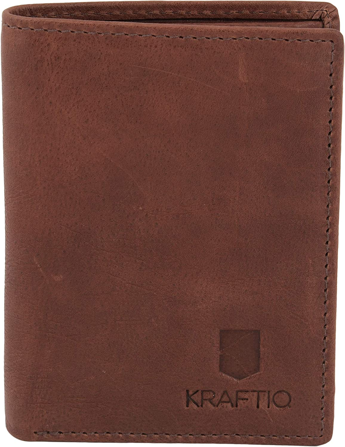 ROMAN- RFID Secured, Vegetable Tanned Brown Leather Credit Card Wallet