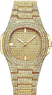 ساعة كوارتز كوارتز عصرية من الماس المقاوم للماء بحجر الراين بالكامل من سبيكة الماس (اللون: ذهبي)
