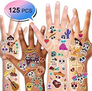 Konsait 125pcs Mexican Day Of The Dead Temporary Tattoos, Halloween Transfers Tattoo for Women Men Adult Kids Cinco de Mayo Celebration Halloween Festival Carnival Party Favor Supplies