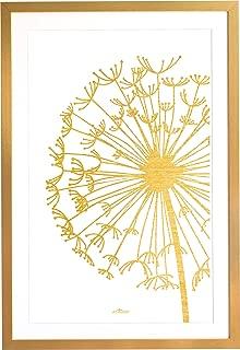 Enkolor-Cuadros Nórdicos Decoración con Marco en Madera Dorado Oro 45X65 cm. con Lámina. Ideal para Regalo Estilo Escandinavo-Diseño Minimalista para Paredes del Salón Habitación-Diente León