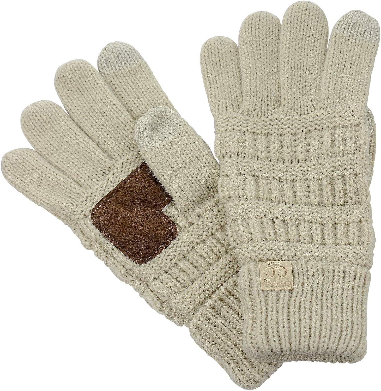 C.C. Kids' Children's Cable Knit Warm Anti-Slip Touchscreen Texting Gloves