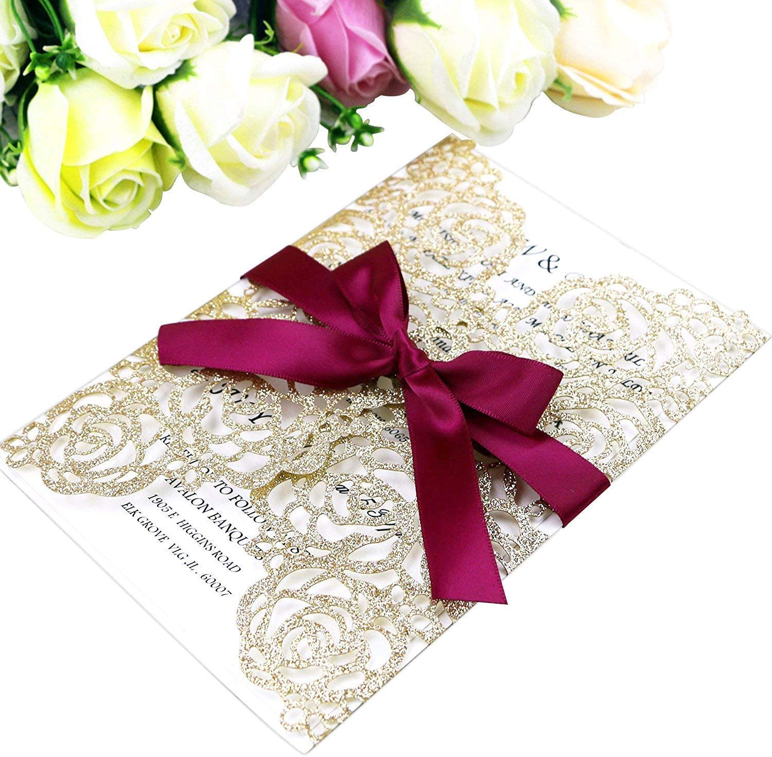 PONATIA 25PCS Hollow Rose Laser Cut Wedding Invitations Cards with Envelopes, Printable Paper with Burgundy Ribbons For Wedding Bridal Shower Engagement Sweet 16 Birthday Invite (Gold Glitter)