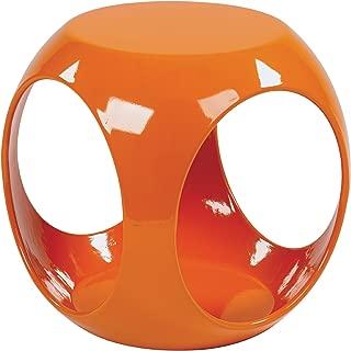 Ave Six Slick High Gloss Finish Cube Occasional Table, Orange