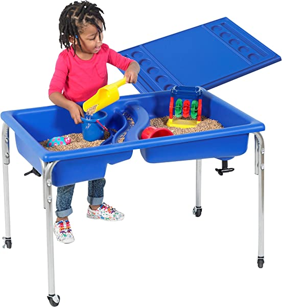 Children S Factory Neptune Table And Lid Set Sensory Table For Kids In Blue 36 X 24 X 24 In