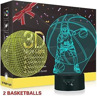 Basketball 3D Night Light,Metplus Kids Room Decor Bedside Lamp 7 Colors LED Illusion Table Desk Lamps USB Touch Sensor Nightlights Children Xmas Birthday Gift - 2 Acrylic Panels