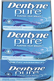 Dentyne Pure Mint with Herbal Accents Sugar Free Gum, 10 Packs of 9 Pieces (90 Total Pieces)