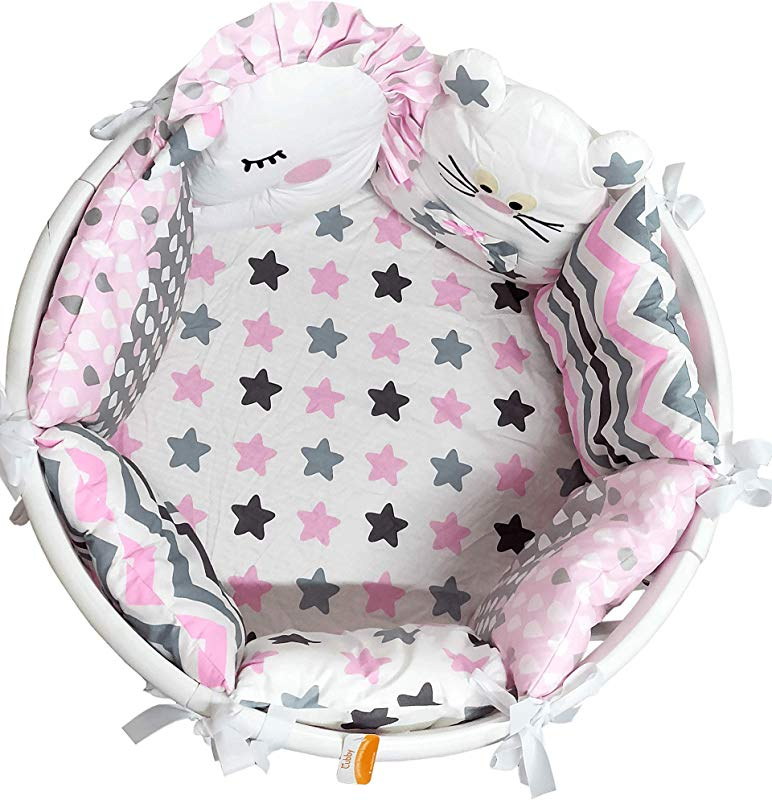 Baby Nursery Crib Bedding Set Premium With Bumpers For Round Crib Stars For Girls Pillow Bumpers